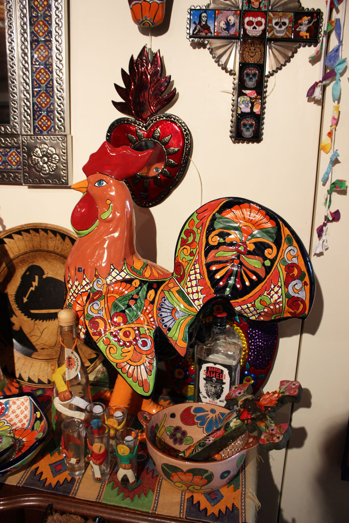 Hand painted Mexican style hen